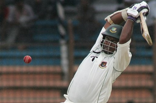 Bangladesh batsman Shahriar Nafeez takes evasive action from a rising delivery on the fourth day of the first cricket test against India at the Bir Sreshta Shahid Ruhul Amin Stadium in Chittagong.