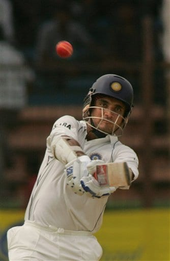 India's Sourav Ganguly pulls the ball during India's second innings on the final day of the first cricket test against Bangladesh at the Bir Sreshta Shahid Ruhul Amin Stadium in Chittagong.