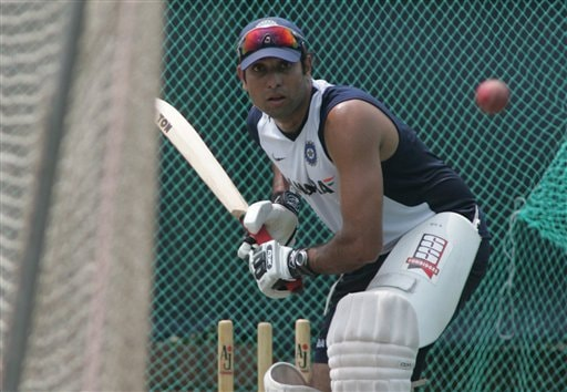 Indian cricket team member V V S Laxman bats during a practice session at the Shere Bangla National Stadium in Dhaka, Bangladesh, Thursday, May 24, 2007. The first test between hosts Bangladesh and India ended in a draw, the second test begins in Dhaka Friday.