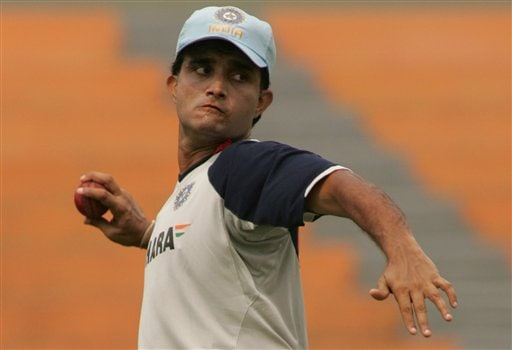 Indian cricket team member Sourav Ganguly prepares to throw the ball during a practice session at the Shere Bangla National Stadium in Dhaka, Bangladesh, Thursday, May 24, 2007. The first test between hosts Bangladesh and India ended in a draw, the second test begins in Dhaka Friday.