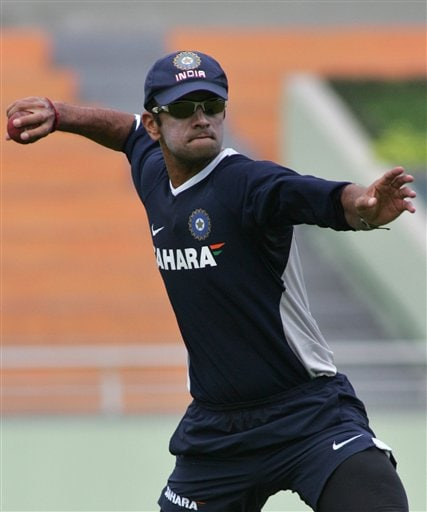 Indian cricket team captain Rahul Dravid prepares to throw the ball during a practice session at the Shere Bangla National Stadium in Dhaka, Bangladesh, Thursday, May 24, 2007. The first test between hosts Bangladesh and India ended in a draw, the second test begins in Dhaka Friday.