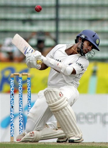 Indian batsman Dinesh Karthik evades a ball on the first day of the second cricket test match between India and Bangladesh at the Shere Bangla National Stadium in Dhaka, Bangladesh, Friday, May 25, 2007.