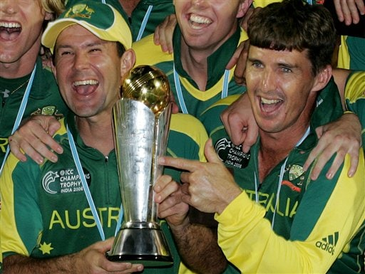 Australia's Damien Martyn, right, and Ricky Ponting celebrate their team's victory in the ICC Champions Trophy in Mumbai.