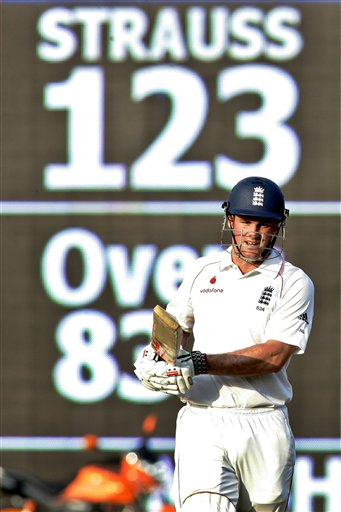 Andrew Strauss gestures after his dismissal during the first Test match between India and England in Chennai on Thursday, December 11, 2008. (AP Photo)