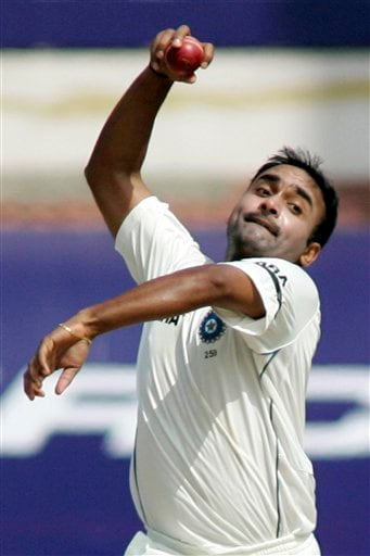 Amit Mishra bowls during the first Test match between India and England in Chennai on Thursday, December 11, 2008. (AP Photo)