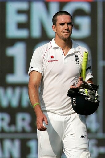 Kevin Pietersen walks out after his dismissal during the first Test match between India and England in Chennai on Thursday, December 11, 2008. (AP Photo)