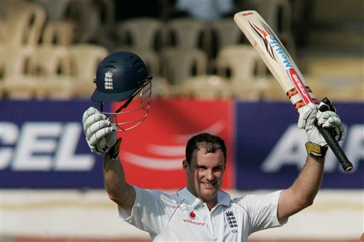 Andrew Strauss gestures after scoring a hundred during the first Test match between India and England in Chennai on Thursday, December 11, 2008. (AP Photo)