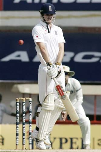England's James Anderson gestures as he faces a bouncer during second day of the first Test match between India and England in Chennai on Friday.(AP Photo)