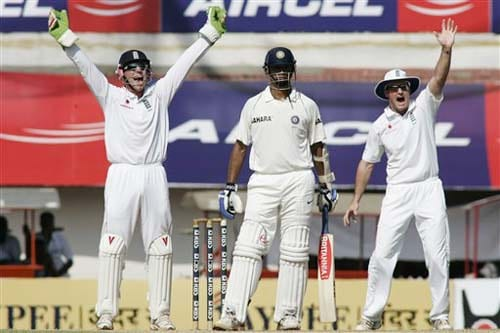 England's Matt Prior and Paul Collingwood appeal successfully against India's Rahul Dravid during the second day of the first Test between India and England in Chennai on Friday.(AP Photo)