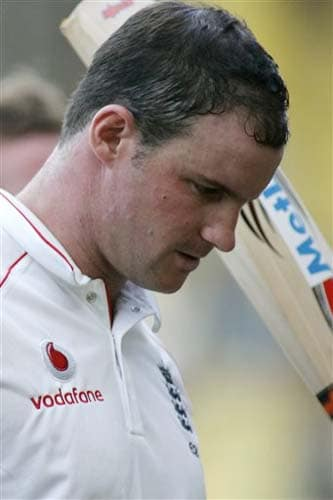 England's Andrew Strauss walks to pavilion at the end of play during the third day of first Test match between India and England in Chennai on Saturday.(AP Photo)