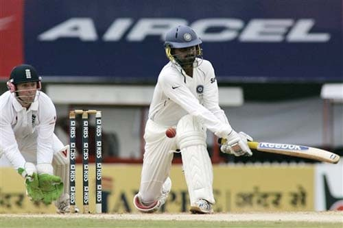 India's Harbhajan Singh hits a shot as England's wicketkeeper Matt Prior takes his position during third day of the first Test match between India and England in Chennai on Saturday. (AP Photo)