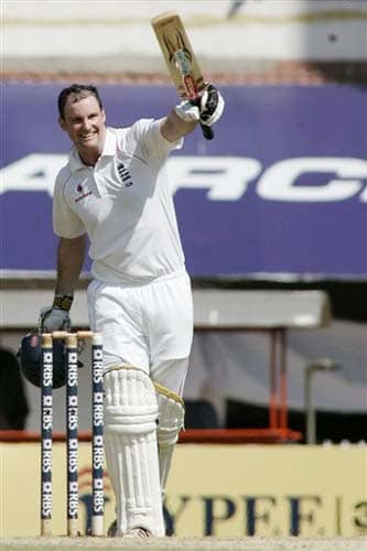 England's Andrew Strauss gestures after making a century during the fourth day of the first Test match between India and England in Chennai on Sunday.(AP Photo)