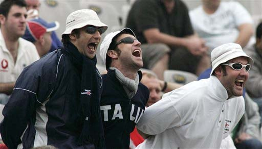 England team supporters cheer for their home team during the second day of the second Test match between India and England in Mohali on Saturday. (AP Photo)