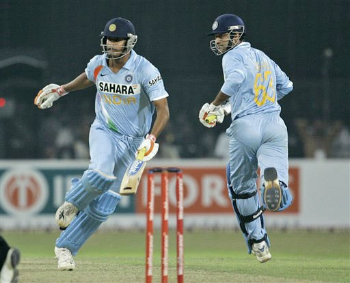 Yusuf Pathan and Irfan Pathan run between the wickets during the Twenty20 match between India and Sri Lanka in Colombo. (AP Photo)
