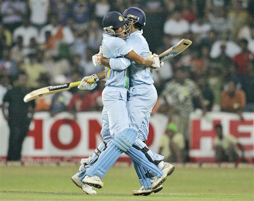 Yusuf Pathan and Irfan Pathan celebrate their victory over Sri Lanka during the Twenty20 match between India and Sri Lanka in Colombo. (AP Photo)