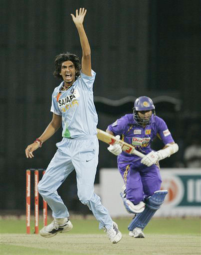 Ishant Sharma unsuccessfully appeals for the wicket of Tillakaratne Dilshan during the Twenty20 match between India and Sri Lanka in Colombo. (AP Photo)
