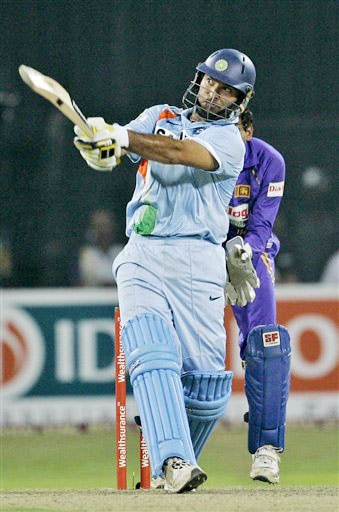 Yuvraj Singh plays a shot during the Twenty20 match between India and Sri Lanka in Colombo. (AP Photo)