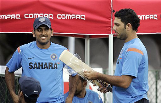 India captain Mahendra Singh Dhoni and batsman Yuvraj Singh look on during a practice session at The R Premadasa Stadium in Colombo on Wednesday. (AP Photo)