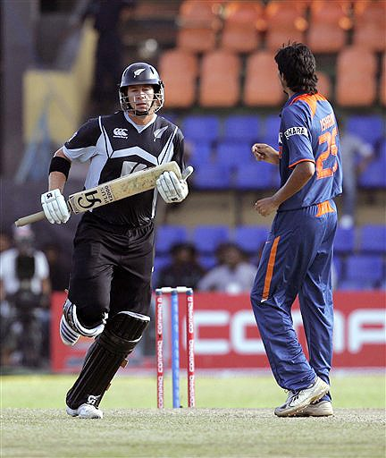 New Zealand's Jacob Oram runs between wickets, as India's Ishant Sharma looks on during their ODI match for the tri-nation series in Colombo on Friday. (AP Photo)New Zealand's Jacob Oram runs between wickets, as India's Ishant Sharma looks on during their ODI match for the tri-nation series in Colombo on Friday. (AP Photo)