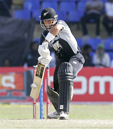 New Zealand's Grant Elliott plays a shot during the ODI match between India and New Zealand in Colombo on Friday. (AP Photo)