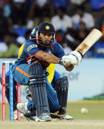 India's Yuvraj Singh bats during the Tri-Nation Championship Trophy final ODI match against Sri Lanka in Colombo on Monday. (AFP Photo)