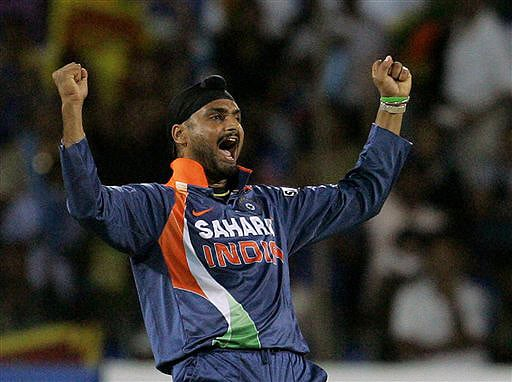 India's Harbhajan Singh reacts following the dismissal of Sri Lanka's Mahela Jayawardene during their Tri-Nation Championship Trophy final ODI match in Colombo on Monday. (AP Photo)
