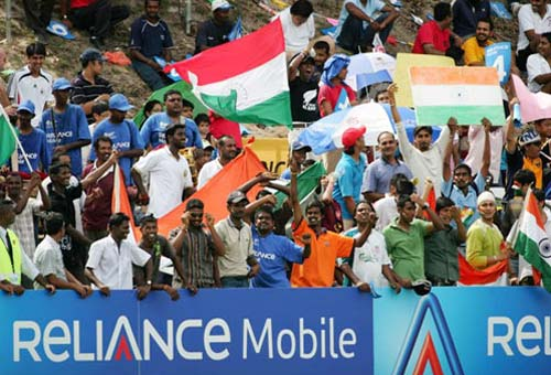 <b>Cheering the team:</b> Indian fans support their team in the final of the ICC U/19 Cricket World Cup (© ICC)
