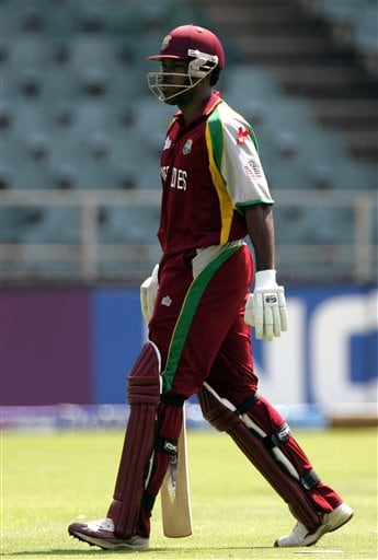 West Indies' batsman Chris Gayle, leaves the crease after his dismissal during their Twenty20 World Championship cricket match against Bangladesh at the Wanderers Stadium in Johannesburg, South Africa, Thursday, Sept. 13, 2007.