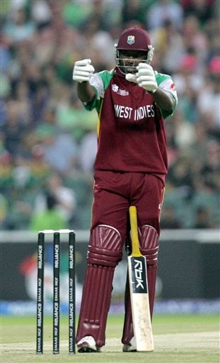 West Indies batsman Chris Gayle, gestures as he complains about the sight screens during their Twenty20 World Championship cricket match against South Africa at the Wanderers Stadium in Johannesburg, South Africa, Tuesday, Sept. 11, 2007.