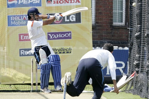 Mahendra Singh Dhoni in action during an optional training session in the nets at Lord's Cricket ground in London. (AP Photo)