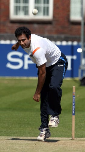 Irfan Pathan bowls a practice ball during a net practice at Lord's cricket ground in London. (AP Photo)