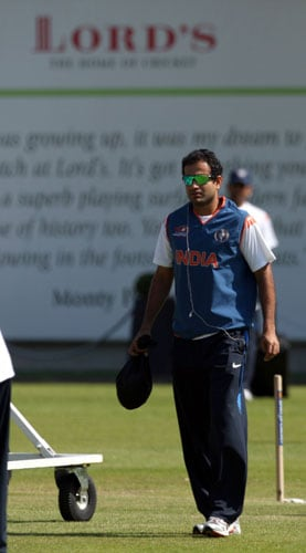 Irfan Pathan arrives for a net practice at Lord's cricket ground in London. (AP Photo)
