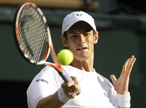 Britain's Andy Murray in action during his quarterfinal against Spain's Rafael Nadal at Wimbledon on July 2, 2008.