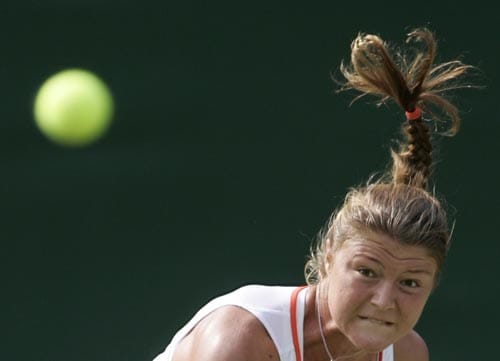Russia's Dinara Safina serves to Taiwan's Su-Wei Hsieh, during their Women's Singles, second round match at Wimbledon.