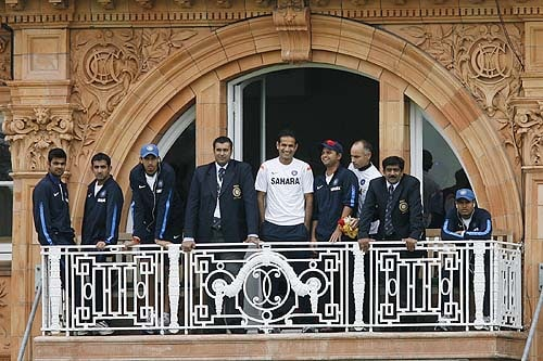 The Indian team look out from their dressing room before their match against the West Indies in the Super 8 stage of the ICC World Twenty20 at Lords in London. (AFP Photo)