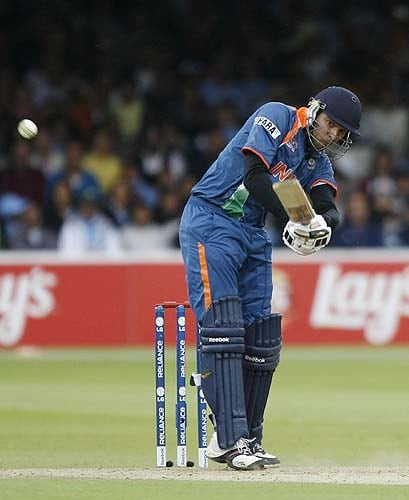 India's Yusuf Pathan plays this shot against West Indies during the Super 8 stage of the ICC World Twenty20 at Lord's in London. (AFP Photo)
