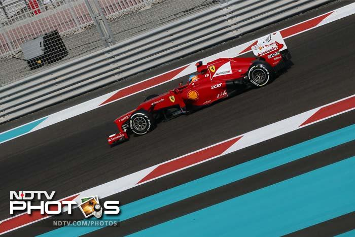 While Kimi Raikkonen in his Lotus F1 (not seen here) will be a place behind Button, Ferrari fans were not too impressed as Fernando Alonso - the main challenger to Vettel for the championship title - was seventh fastest. His teammate - Felipe Massa - will be further behind at the ninth position.