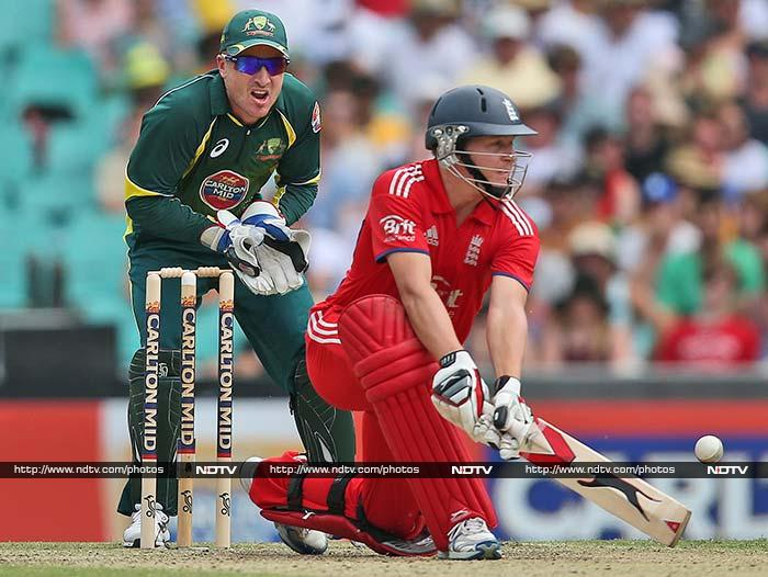 Eoin Morgan top-scored with 54 as England posted 243/9.