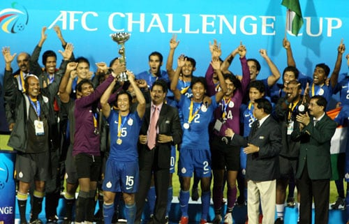 India captain Bhaichung Bhutia lifts the AFC Challenge Cup after beating Tajikistan in the final at New Delhi's Ambedkar Stadium on Wednesday.