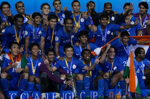 The victorious Indian team after winning the AFC Challenge Cup at New Delhi's Ambedkar Stadium on Wednesday.