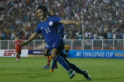 India's Sunil Chhetri celebrates a goal against Tajikistan at New Delhi's Ambedkar Stadium on Wednesday.