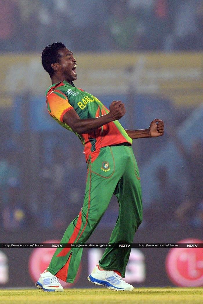 Al-Amin Hossain was the pick of the bowlers for Bangladesh, taking 2 for 17 in his 4 overs.