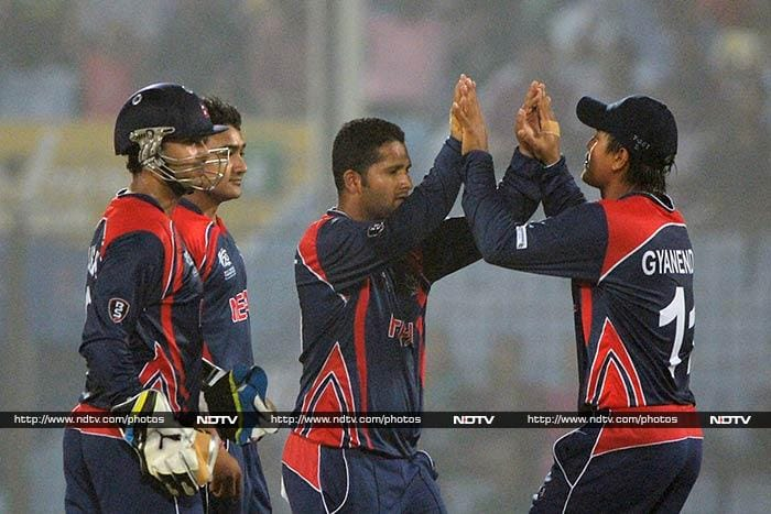 Left-arm spinner Basant Regmi was the lone bowler to take a wicket for Nepal as he dismissed Tamim Iqbal for 30.