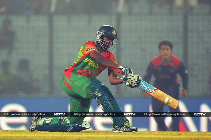Shakib Al Hasan ended the match with a flurry of sixes in his 18-ball 37 as Bangladesh romped him with 27 balls to spare.