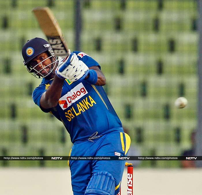 Angelo Mathews scored an unbeaten 45 and his lusty hits towards the end took Sri Lanka to a challenging total of 253/6.