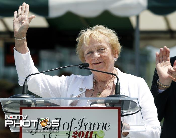 """Also inducted was Fern """"Peachy"""" Kellmeyer, who fought for women's athletic scholarships while in college and was one of the trailblazers in women's professional tennis."""