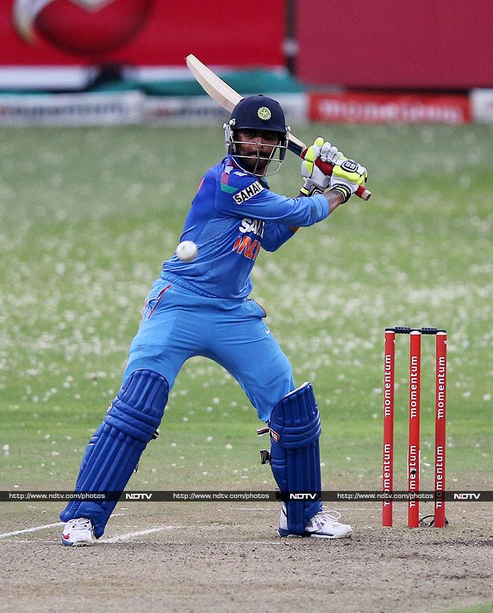 Ravindra Jadeja attempted a late surge but was ultimately dismissed by Lonwabo Tsotsobe. The left-arm pacer ended with figures of 4/25 in his 7.1 overs. (AFP image)