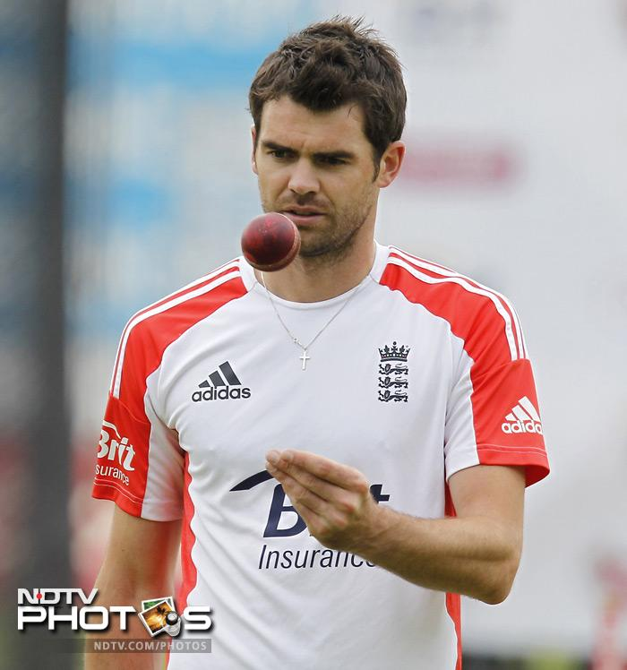 England's James Anderson participates in a team training session on the eve of the fourth test match. (AFP Photo)