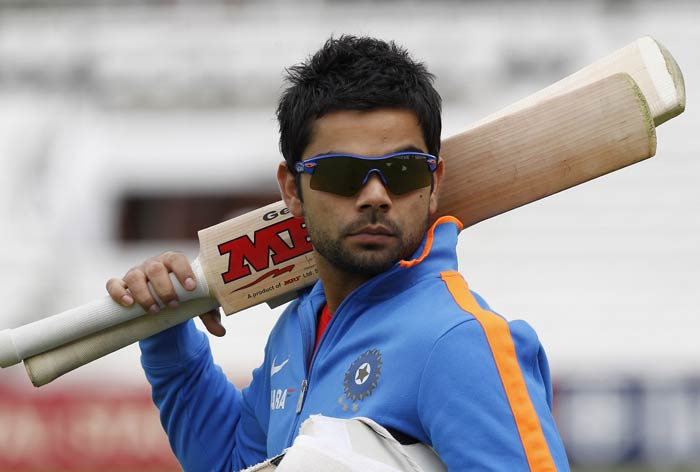 India's Virat Kohli takes part in a practice session on the eve of the fourth test match between England and India at The Oval Cricket Ground. (AFP Photo)