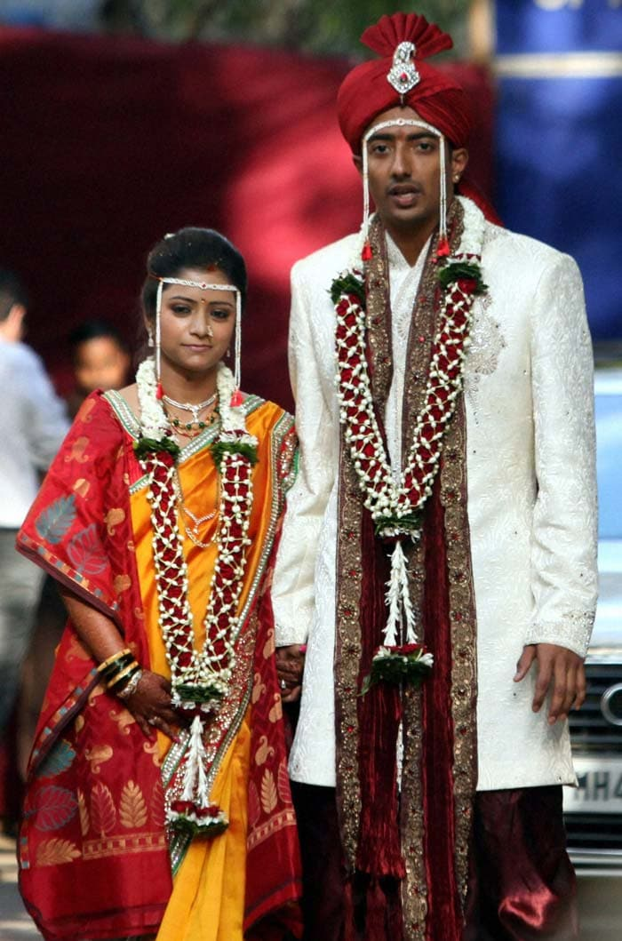 Ankeet Chavan who was arrested on charges of spot-fixing married IT consultant Sambari, who was his girlfriend for eight years. (Photo Credit PTI)